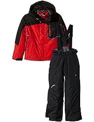 Peak Mountain Ecial - Conjunto de esquí para niño, traje, Niño, color negro/rojo, tamaño 14 años