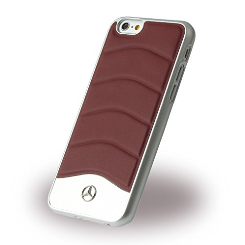 Mercedes MEHCP6CUSDGR Echtleder und Brushed Aluminium Schutzhülle für Apple iPhone 6/6S Dunkelgrau klassisches rot
