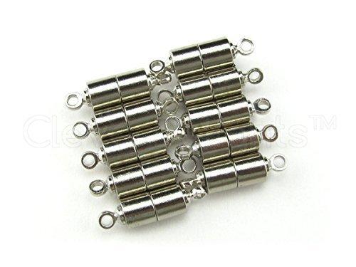 50cleverdelights magnetisch Schmuck Verschlüsse-Tube Style-Silber Farbe-Halskette Magnet Verschluss Konverter