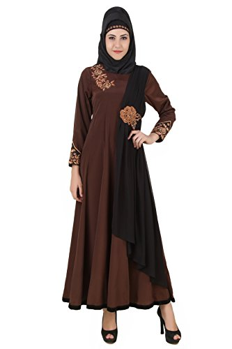 MyBatua Laaibah Brown Crepe and Georgette Eid Abaya AY-458 (M)