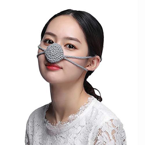 Protection Nose Cover Specialty Store Nasenwärmer Persönlichkeit Handarbeit Wolle Weben Nasalmaske Halten Sie Ihre Nase warm Frostschutzmittel Runde Unisex Breathable Maske,Gray -