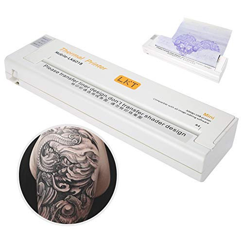 Tattoo Transfer, Professionelle Tattoo Thermal Printer Schablonenpapier Tattoo Printer Schablonenmaschine mit 1 PC Bonuspapier(EU) (Temporäre Tätowierung Transfers)