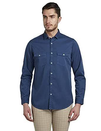 Colorplus Solid Dark Blue Coloured Cotton Shirts