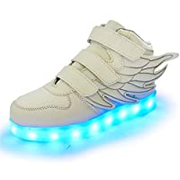 Licy Life-UK Boys/Girls LED Shoes Light up Sneakers/Trainers with Wings 7 Colors Flashing Light for USB Charge Halloween Christmas Thanksgiving Day Gifts
