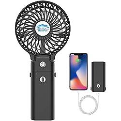 HandFan USB Ventilateur à Main Ventilateur de Poche avec Fonction d'Electricité Mobile 5200mAh Ventilateur Rechargeable Mini Ventilateur Ventilateur de Bureau Pliable Office Table ou Voyage