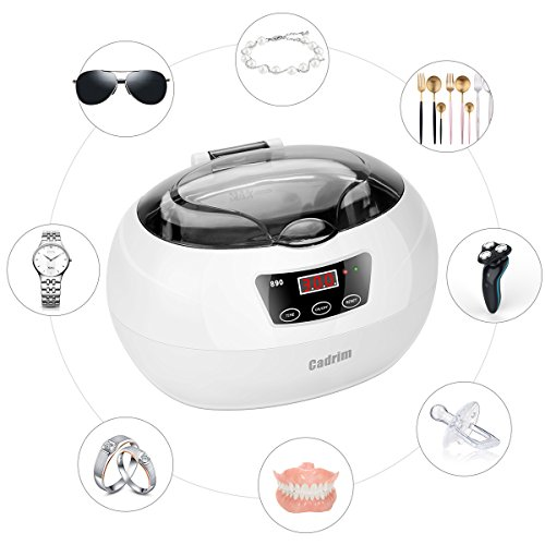 Nettoyeur à Ultrasons,Cadrim Appareil Nettoyage Ultrasons Machines de nettoyage pour Nettoyer Bijoux /CD/ Lunettes /Bracelet (600ML)