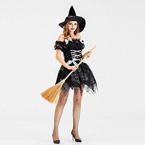 LPP Damen Halloween Kostüm, Night Ghost Game Anzug Hexe Schwarz Gaze Hexenkostüm Hexenkostüm Geeignet Für Tanzparty, Party, - Best 80's Paare Kostüm