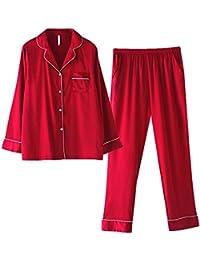 mmllse Pyjama À Manches Longues Automne Couple Soie Femmes Rouge Mariage  Hommes Deux Pièces Service À b750b24251b