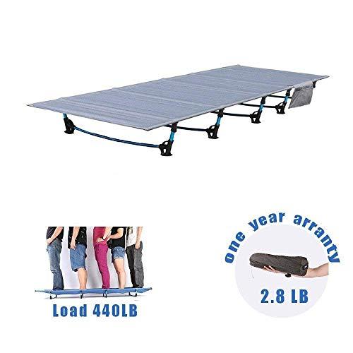HUKOER Folding Camping Bett Nettogewicht 2,1 kg Reise Outdoor Bett Wanderer ultraleichtes Feldbett, Aluminiumlegierung Bett für Camping Wandern Angeln 200 kg Lager mit atmungsaktive wasserdichte