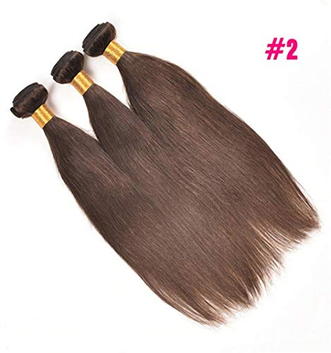 WIGM Färben Sie Haar-Vorhang-reales Menschenhaar-Bündelverlängerung brasilianisches Brown-gerades Haar gerades Menschenhaar 10inch 9A Echthaar mit Baby Haar 180% Dichte brasilianisches ge Ge Fiber