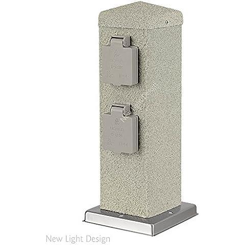 3er Set de 4-bandeja de jardín de toma de corriente de enchufe de toma de aspecto de piedra al aire libre de la distribución IP44 300