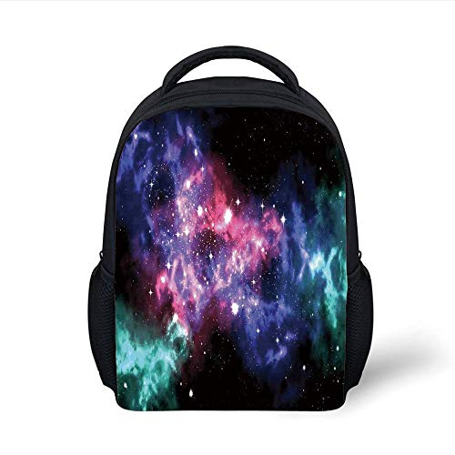 Space Decorations,Stars Dusty Gas Cloud in Planetary Magical Cosmos Universe Print Decor,Purple Pink Navy Plain Bookbag Travel Daypack ()