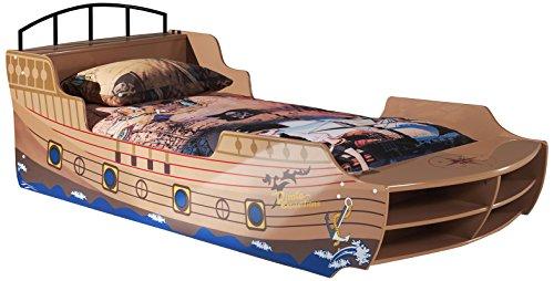 Vipack SCPB200 Bootbett, Maße 248 x 65 x 95 cm, Liegefläche 90 x 200 cm, aufgedruckte Optik, braun/beige lackiert
