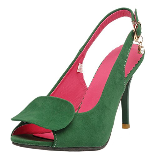 COOLCEPT Femmes Mode Peep Toe Slingback Talon Aiguille Sandales Vert