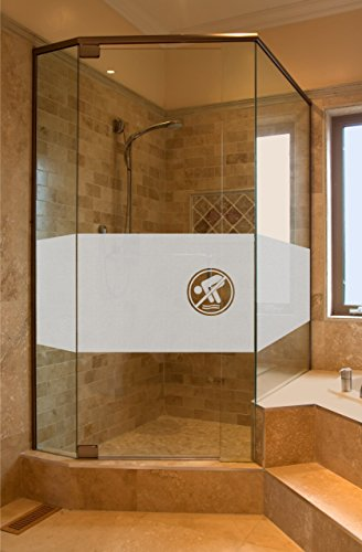GD35 Bad Dusche Sichtschutz Aufkleber Höhe ca. 50 cm, Glasdekorfolie Duschwand Glasdekor Fensterfolie Badezimmer