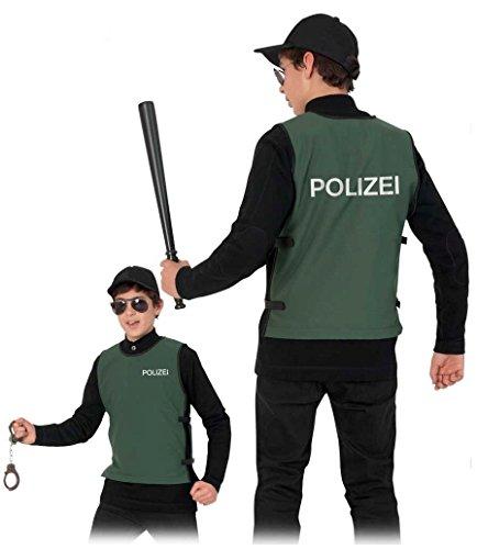 """Preisvergleich Produktbild Kinder-Kostüm """"POLIZEI-WESTE"""" in grün mit seitlichem Klettverschluß Gr. 134/140 & 152"""