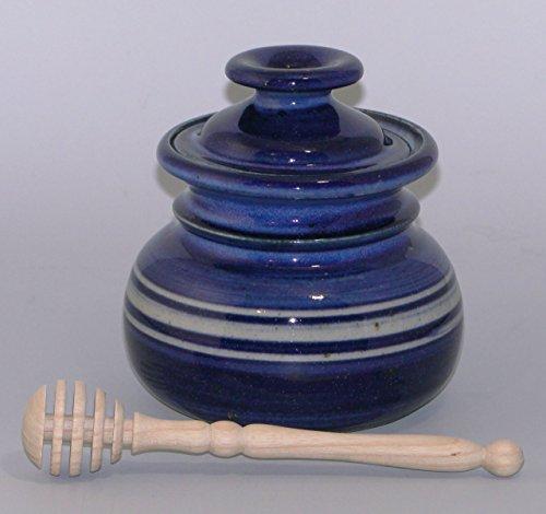 honigtopf mit gedrechseltem honigspender, blaue glasur, c3 honig