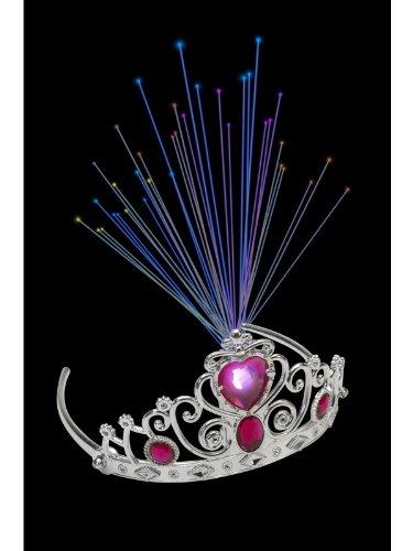 Smiffys Damen Leuchtende Krone mit pinken Juwelen, One Size, Silber, 21201