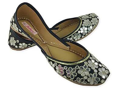 Fulkari Womens Genuine Soft Leather Phulkari Shine Black Gold Embroidered Comfortable Punjabi Jutti Ethnic Flat Jutis 36