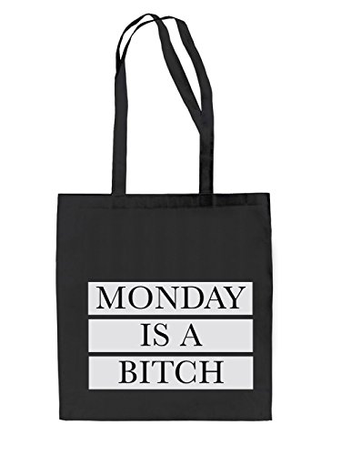Monday is a Bitch Jutebeutel Black