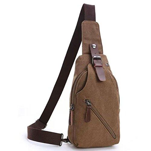 Outreo Herrentaschen Vintage Brusttasche Kleine Umhängetasche Herren Leder Schultertasche Sporttasche Messenger Taschen für Sport Reisetasche Retro Tasche (Braun One)