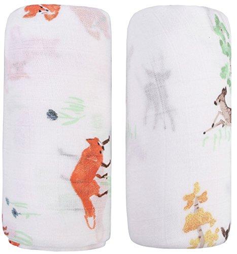 Little Jump Musselin Decke Swaddle Pucktücher aus Puckdecken - (2 Stück, Fox & Elch) Bambus Baumwolle Baby Einschlagdecke, Spucktücher & Buggy Cover - weiche Baby Decken für Junge (Fox & Elch) -