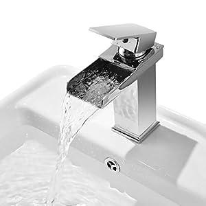 Grifo Lavabo Monomando Cascada, Grifos Modernos sin Plomo para Lavabos del Cuarto de Baño, Agua Fria y Caliente, Cromo