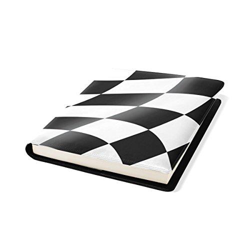 (Coosun schwarz und weiß cheked Racing Flag Buch Sox dehnbare Buchumschlag, passt die meisten Hardcover-Bücher bis zu 9 x 11. Klebstoff-frei, Pu Leder Schulbuch Protector)