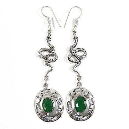 Argenté Couleur Verte Dangle Boucles D'Oreilles Indien Cadeau De Bijoux Ethenic Pour Elle vert-22
