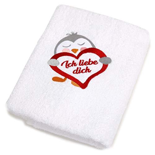 Abc Casa weißes Handtuch mit Pinguin und Herz Ich Liebe Dich-romantische Geschenke zum Geburtstag, Jahrestag, Hochzeitstag, Valentinstag, Muttertag, Vatertag für männer oder für Frauen
