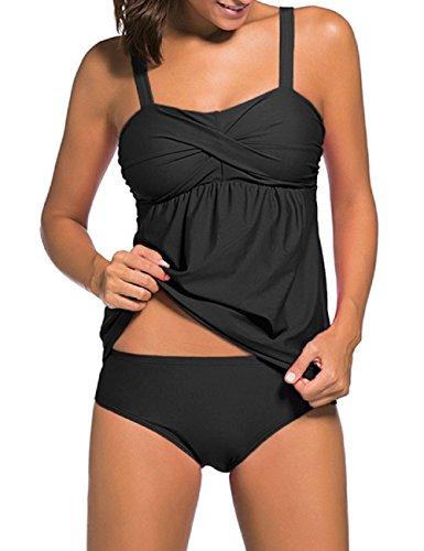Lrud Damen Two Piece Spaghetti Gurt Tankini Set Kordelzug Hoher Taille Badeanzug Bademode Swimwear Bikini Große Größe