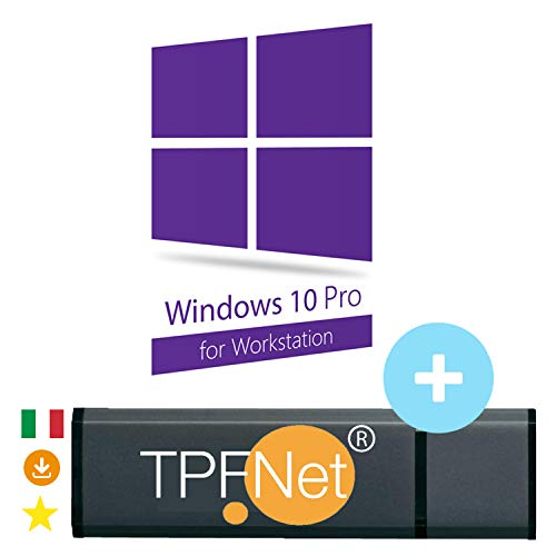 MS Windows 10 Pro Workstation 32 & 64 bit - Licenza Originale con Chiavetta USB Avviabile di TPFNet