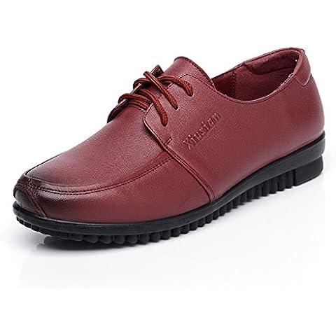 Size madre con scarpe basse/Scarpe in vera pelle/Medio fondo morbido femminile e vecchio invecchiato scarpe da donna/Donne di mezza età casuale scarpe di cuoio