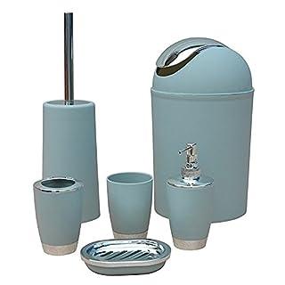 ST @ llion® 6Stück Kunststoff Bad Zubehör Badezimmer Set, Lotionspender, Zahnbürstenhalter, Becher Cup, Seifenschale, Trash kann, WC-Bürste Set hellgrau