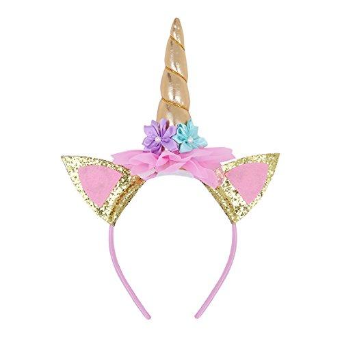 Tiaobug Haarreif Einhorn Unicorn Kostüm Einhörner Haarreif Kopfschmuck für Baby Kinder Party Karneval (One Size, Gold(Modell B))