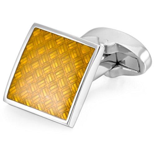 munkimix-2-pcs-rhodium-plated-enamel-cufflinks-silver-tone-yellow-square-shirt-wedding-business-1-pa