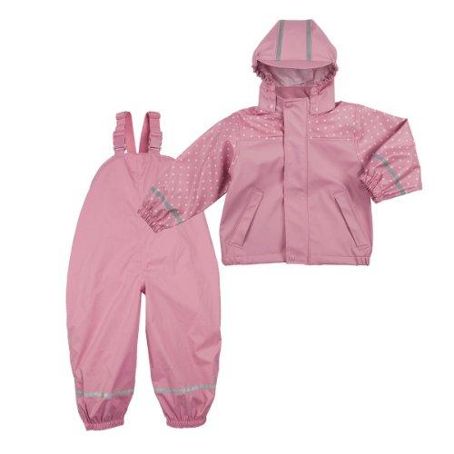 BORNINO Set Regenjacke und leichte Regenlatzhose Baby-Regenbekleidung, Größe 74/80, rosa