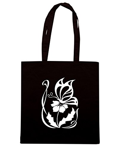 T-Shirtshock - Borsa Shopping FUN0897 butterfly on a flower decal 57495 Nero