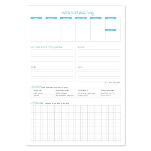 Notizblock Meine Wochenplanung I dv_297 I DIN A4 I 50 Blatt I To-Do-Liste Notizzettel Vordruck aus Papier zum Abhaken Abreißen für jeden Tag Haushalt (To-do-liste Meine)