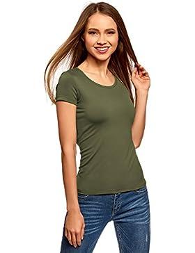 oodji Ultra Mujer Camiseta Básica con Cuello Redondo
