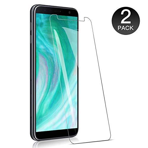 WieStoung Verre Trempé pour Samsung Galaxy J4 Plus / J6 Plus - Pack de 2 Vitre Ecran Film Verre pour Samsung J4 + Dureté 9H, sans Bulles, Couvir l'écran Complèt HD, Verre trempé de Haute qualité