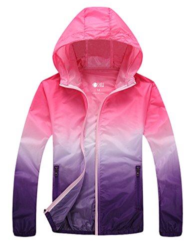 ZSHOW Femme Veste à Capuche de Sport Léger Protection UV Coupe Vent à Séchage Rapide Fermeture Éclair Rouge Violet