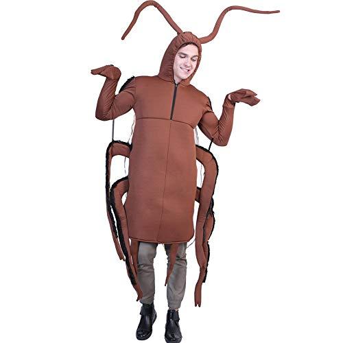 YouN Novelty Funny,Men Cucaracha Jumpsuit Adult Costume Halloween Cosplay Performance Clothes (Ghost Gent Für Erwachsenen Kostüm)