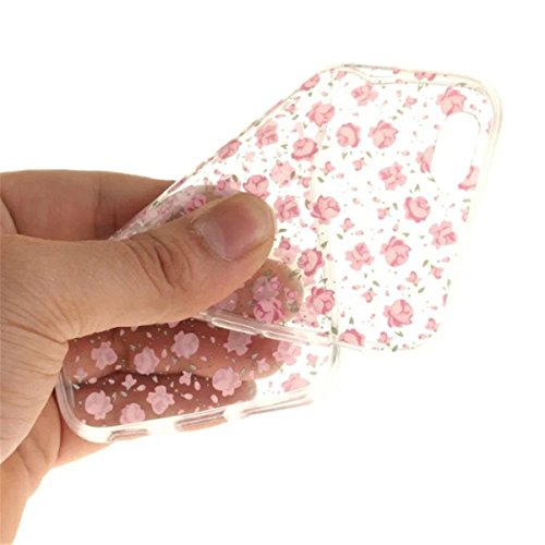 iPhone 6 Hülle, iPhone 6S Hülle, Gift_Source [ Rhododendron ] Hülle Case Transparent Weiche Silikon Schutzhülle Handyhülle Schutzhülle Durchsichtig TPU Crystal Clear Case Backcover Bumper Case für iPh E1-Rosa Rosen