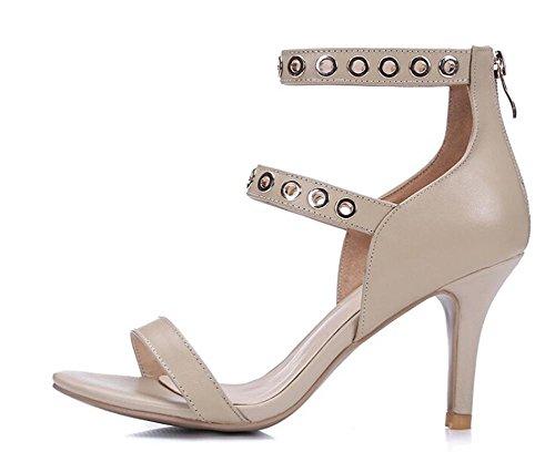 Beauqueen Sandalen Open-Toe Frauen Sommer Pumps Stiletto Mid Heel Knöchelriemen Elegante Sandalen Schwarz Aprikose Europa Größe 33-39 apricot