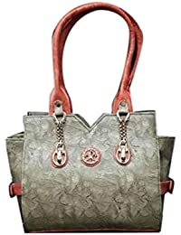 Generic Women's Leather Rexine Designer Hand Bag (Grey & Red, Size 7 Inch)