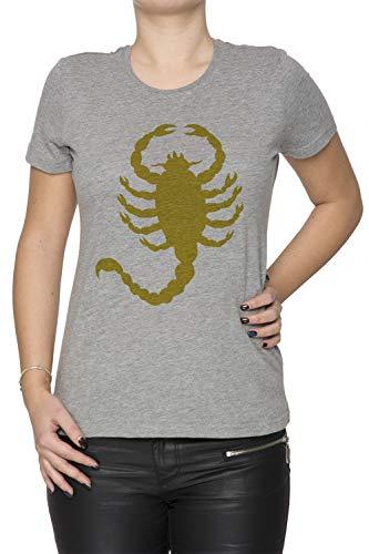 Erido Conducir Escorpión Mujer Camiseta Cuello Redondo Gris Manga Corta Tamaño XL Women's Grey T-Shirt X-Large Size XL