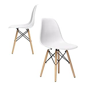 nufurn Beach Wood Eames Style Designer Dining Chair for Living Room (White) - Set of 2