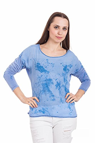 Abbino Futura Shirts Tops Damen - Made in Italy - Viele Farben - Übergang Frühling Sommer Herbst Damenshirts Damentops DamenT-Shirts Lässig Langarm Sexy Sale Freizeit Elegant Muster Blau (Art. Futura)