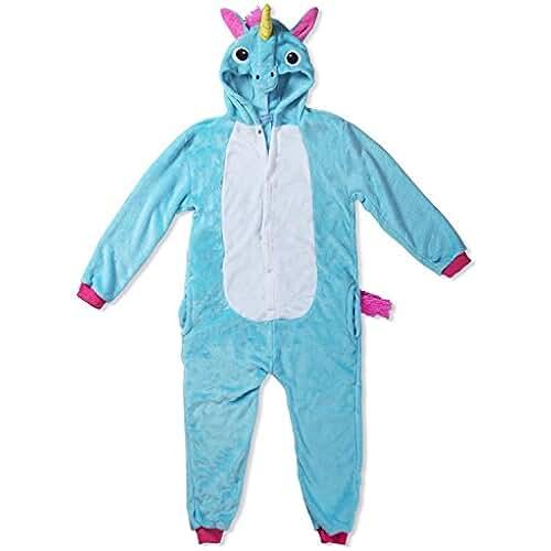 unicornios kawaii Kigurumi Mameluco Pijama con Capucha para Niños - Traje Disfraz Infantil de Animal para Otoño, Invierno Unicornio Azul 5-7 años